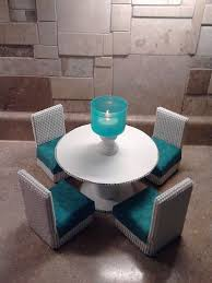 kitchen table sets bo: barbie furniture round dining table and chairs set teal and white th
