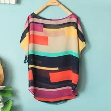 <b>Colorful Scoop Neck</b> Stripes Loose Fit Chiffon Shirt For Women [#121]