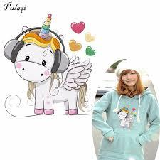 <b>Pulaqi Cute Unicorn</b> Transfer Sticker Iron On Rock Music Animal ...