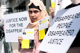 do you want to know the secret behind enforced disappearances amina masood at ai demonstration outside high commission