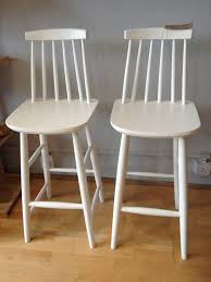 retro white painted oak wood bar stool with backrest of wooden breakfast bars furniture