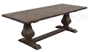 style salvaged wood trestle table shown