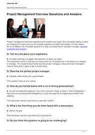 project management interview questions and answers pdf docdroid