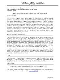 sample cover letter visa document