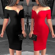 Fashion <b>Women Sexy Off Shoulder</b> V Cut Neck Solid Color Bodycon ...