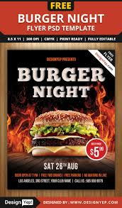 restaurant and food menu flyer templates designyep burger night flyer psd template