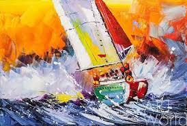 Картина с корабль - морской пейзаж с парусником маслом