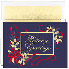 corporate holiday greeting cards corporate greeting cards for a beutiful design gold foling of holiday branches bright red ribbon the outside reads happy holidays and the inside is blank for your greeting