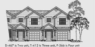 TriPlex House Plans  Multi Family Homes  Row House PlansT  Triplex house plans  triplex house plans   garage  two story triplex