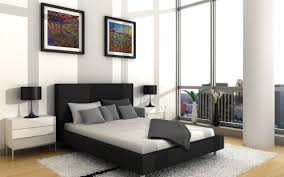 contemporary apartment master bedroom design with cool wall art picture frame over black upholstery fabric paltform bedroomcool black white bedroom design