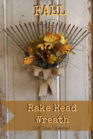 diy rake head wreath 21 diy fall door decorations see more at http aaron office door decorated
