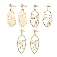 Face Abstract Gold Statement Earrings - Mookoo 3 ... - Amazon.com