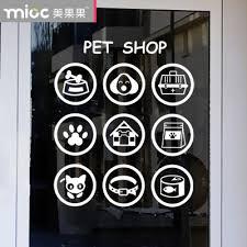 Small Picture Aliexpresscom Buy Pet shop Glass stickers pet design glass door