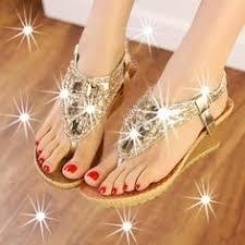 Summer New <b>Fashion Shiny Rhinestone</b> Women Sandal Wedge ...