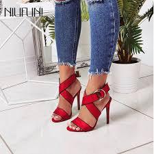 <b>Women Suede</b> Cross Strap Belt Buckle Thin High Heels Sandals ...