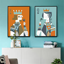 Modern <b>Abstract Poker King</b> Queen Couple Love Poster Print A4 ...