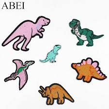 6pcs/lot Embroidered <b>dinosaur</b> Patches for boy clothes <b>Iron On</b> ...