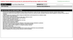truck driver sales route job description dump truck driver job description