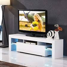 mecor Modern White TV Stand with LED Lights, High ... - Amazon.com