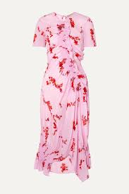 Pink Serelida asymmetric ruffled <b>floral</b>-print crepe de chine dress ...