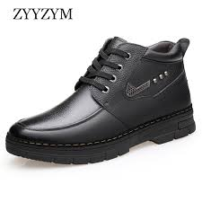 <b>ZYYZYM Mens</b> Boots Winter Lace Up Style Leather Snow Shoes ...