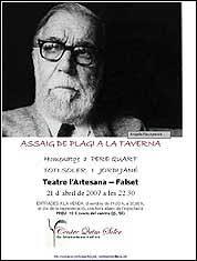 21 d'abril: Assaig de Plagi a la Taverna, Recital homenatge a Pere Quart amb Toti Soler i Jordi Jané, i exposició de collages i llibres de Quim Soler, ... - cartell-toti-jj-pere-quart