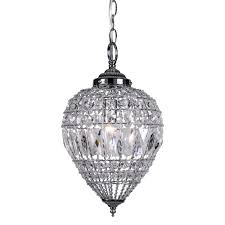 joshua marshal 7022 001 1 light beaded crystal mini pendant light in chrome finish with clear crystal beaded lighting