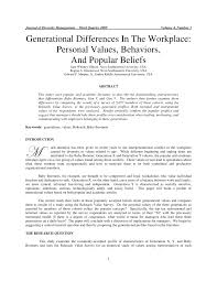 generational differences in the workplace personal values generational differences in the workplace personal values behaviors and popular beliefs pdf available