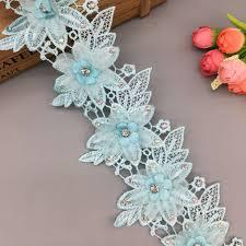 <b>1 yard</b> Blue <b>3D</b> Wing Shape Pearl Rhinestones Flower Lace Trim ...