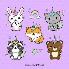 <b>Kawaii</b> style <b>unicorn</b> character collection Vector | Free Download
