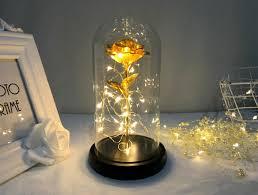 <b>Gold Foil</b> Rose <b>LED Copper</b> Wire Light Glass Cover Wooden Base ...