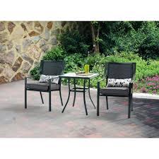 crossman piece outdoor bistro: mainstays alexandra square  piece outdoor bistro set grey with leaves seats  walmartcom