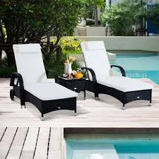 Outsunny <b>Garden</b> Rattan Furniture <b>3 PC Sun</b> Lounger Recliner Bed ...