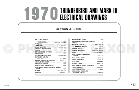 1970 ford thunderbird and lincoln mark iii wiring diagram original table of contents page