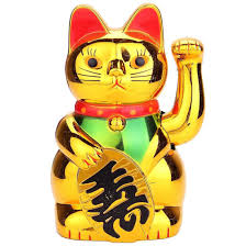 Gold Maneki Neko <b>Cute Lucky Cat</b> Electric Craft Art <b>Home</b> Shop ...