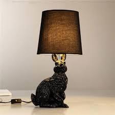 Resin Rabbit Shape <b>Modern</b> Creative <b>Led Table Lights</b> Black White ...