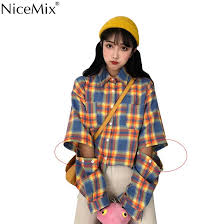 NiceMix Harajuku <b>Blouse</b> Women Plaid <b>Shirts</b> Spliced Sleeves ...