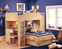 bedroom cool deep blue kids room design with natural wooden bunk excerpt boy be shelves awesome design kids bedroom