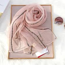 <b>Brand 2019 Luxury</b> solid gold silver silk <b>Scarf</b> For Women <b>Shawls</b> ...