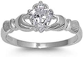 <b>Huitan</b> Claddagh Ring with Birthstone Design <b>Halo CZ</b> Prong ...