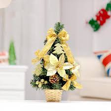 hot sale 35cm golden bow decoration small christmas tree office and house desk decoration artificial christmas tree office desk