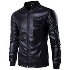 2019 2018 New Brand Men Leather Jacket <b>Autumn Stand Collar</b> ...