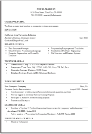resume examples  computer science resume example customer service        resume examples  computer science resume example for career objective with education and technical skills