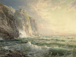 seething waters breaking on grey stones ratiocinativa rocky cliff stormy sea cornwall william trost richards 1902 alfred lord tennyson