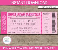 rockstar birthday party ticket invitations template pink rockstar birthday party ticket invitations concert ticket invitations editable diy theme template instant