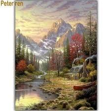 <b>Peter ren DIY Diamond</b> painting landscape Mountain farm Diamond ...