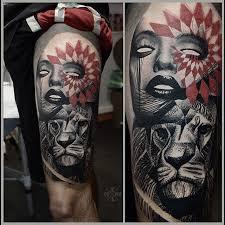 Girl Lion <b>Trash Polka</b> Tattoo on Thigh | Best Tattoo Ideas Gallery