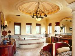 expansive mediterranean style bathroom with ceiling dome that features painted design highlighted by indirect lighting ceiling domes with lighting