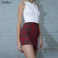 Nibber Japanese <b>Style simple</b> red plaid Mini Skirt women <b>2019</b> ...