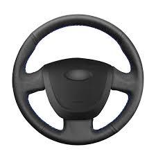 <b>Hand</b>-<b>stitched Black</b> PU <b>Artificial Leather</b> Car Steering Wheel Cover ...